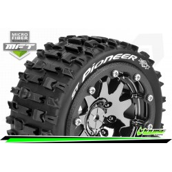 LR-T3312SBC Louise RC - MFT - ST-PIONEER - Set de pneus Monster Truck 1-10 - Monter - Sport - Jantes 2.8 Bead-Lock Chrome-Noir