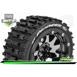 LR-T3312SBCH Louise RC - MFT - ST-PIONEER - Set de pneus Monster Truck 1-10 - Monter - Sport - Jantes 2.8 Bead-Lock Chrome-Noir