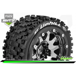 LR-T3313SBCH Louise RC - MFT - ST-UPHILL - Set de pneus Monster Truck 1-10 - Monter - Sport - Jantes 2.8 Bead-Lock Chrome-Noir