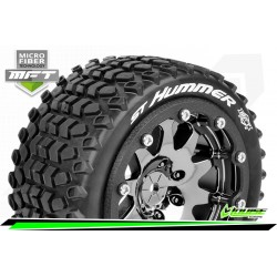 LR-T3314SBC Louise RC - MFT - ST-HUMMER - Set de pneus Monster Truck 1-10 - Monter - Sport - Jantes 2.8 Bead-Lock Chrome-Noir