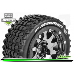 LR-T3314SBCH Louise RC - MFT - ST-HUMMER - Set de pneus Monster Truck 1-10 - Monter - Sport - Jantes 2.8 Bead-Lock Chrome-Noir