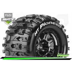 LR-T3321BC Louise RC - MFT - MT-PIONEER - Set de pneus Monster Truck 1-8 - Monter - Sport - Jantes type Bead 3.8 Chrome-Noir