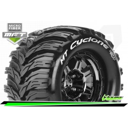 LR-T3323BC Louise RC - MFT - MT-CYCLONE - Set de pneus Monster Truck 1-8 - Monter - Sport - Jantes type Bead 3.8 Chrome-Noir