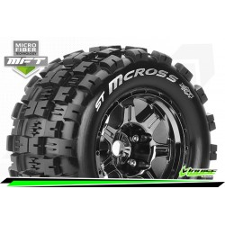 LR-T3327BC Louise RC - MFT - ST-MCROSS - Set de pneus Stadium Truck 1-8 - Monter - Sport - Jantes type Bead 3.8 Chrome-Noir