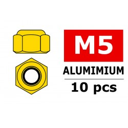 C-31040 Team Corally - Ecrou aluminium Nylstop - M5 - Or - 10 pcs