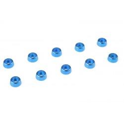 C-31254 Team Corally - Rondelles aluminium - pour vis M2 à tête cylindrique - Ø 6mm - Bleu - 10 pcs