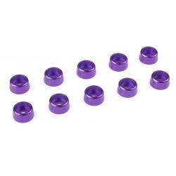 C-31272 Team Corally - Rondelles aluminium - pour vis M3 à tête cylindrique - Ø 8mm - Violet - 10 pcs