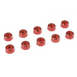C-31275 Team Corally - Rondelles aluminium - pour vis M3 à tête cylindrique - Ø 8mm - Rouge - 10 pcs