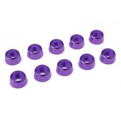 C-31282 Team Corally - Rondelles aluminium - pour vis M4 à tête cylindrique - Ø 10mm - Violet - 10 pcs