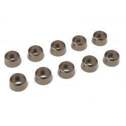C-31283 Team Corally - Rondelles aluminium - pour vis M4 à tête cylindrique - Ø 10mm - Gun Metal - 10 pcs