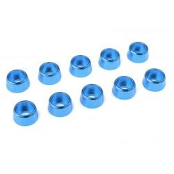 C-31284 Team Corally - Rondelles aluminium - pour vis M4 à tête cylindrique - Ø 10mm - Bleu - 10 pcs