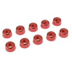 C-31285 Team Corally - Rondelles aluminium - pour vis M4 à tête cylindrique - Ø 10mm - Rouge - 10 pcs