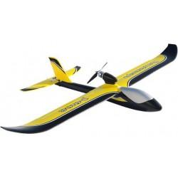 JOY6108V2Y Avion - RTF - Huntsman V2 Planeur jaune 1100mm - 2.4G - J4C14 radio Mode 2 - avec 7.4V 1200mAh LiPo