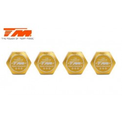 TM111168GD Wheel Nuts - 1/8 Buggy - 17mm - TM Serrated Dirt Shield Wheel Nuts - Gold (4 pcs)