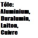 Tôles : Aluminium Cuivre Duralumin Laiton